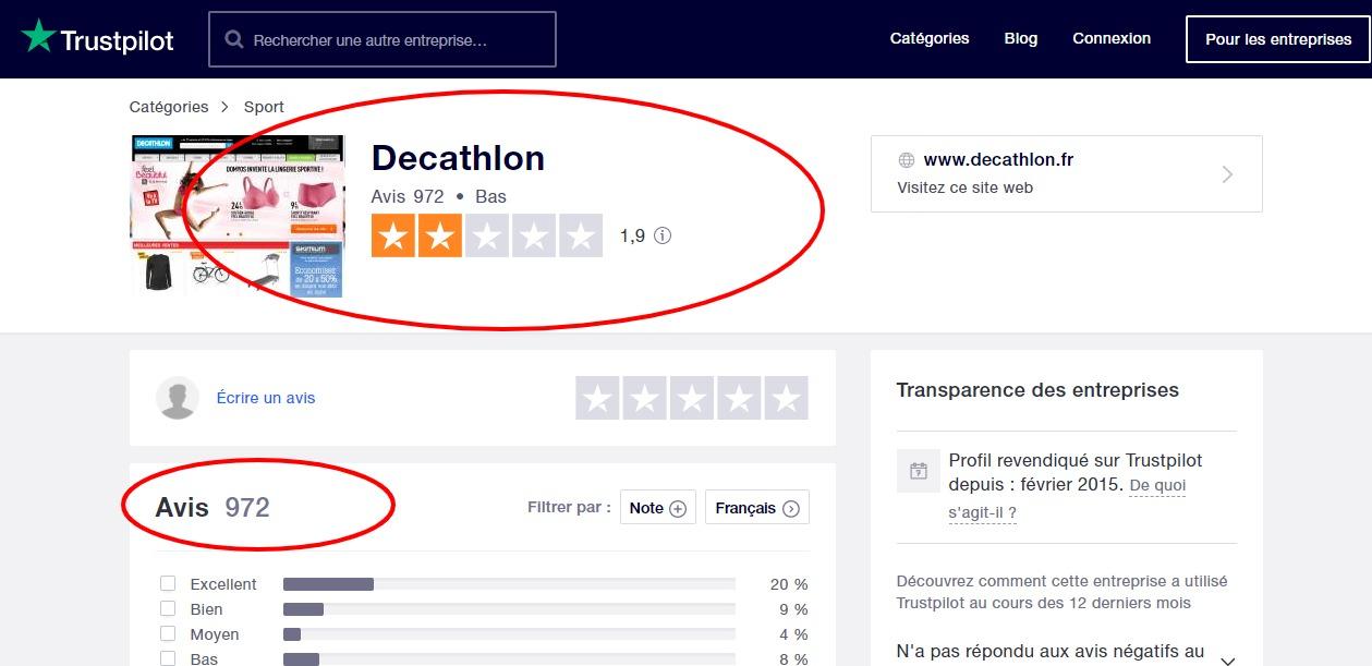avis decathlon trust pilot
